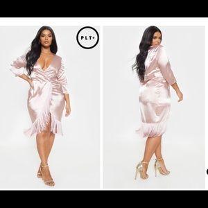 Pretty Little Thing Plus Pink Wrap Midi Dress